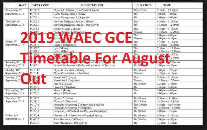 2019 WAEC GCE Timetable For August/September